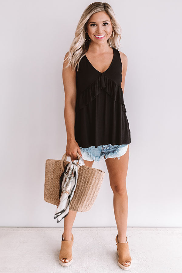 Tampa Bay Bliss Babydoll Tank in Black