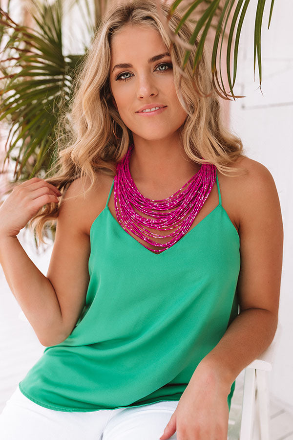 Sweet As Sugar Beaded Necklace in Hot Pink