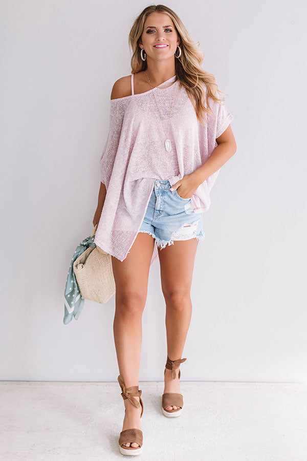 Weekend Travels Knit Tunic In Blush