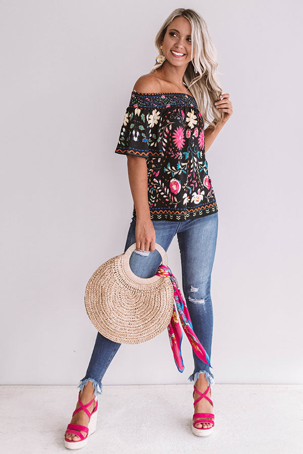 Mojitos In Mexico Floral Shift Top in Black