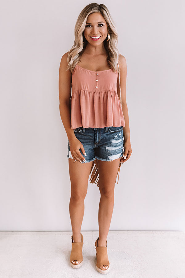 Laguna Luau Babydoll Tank In Dusty Peach