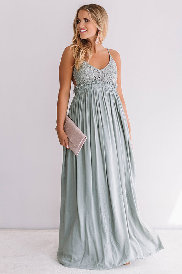 The Grand Reveal Maxi Dress in Light Sage