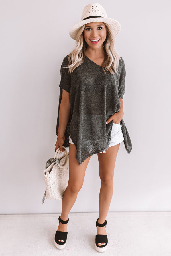 Weekend Travels Knit Tunic In Charcoal