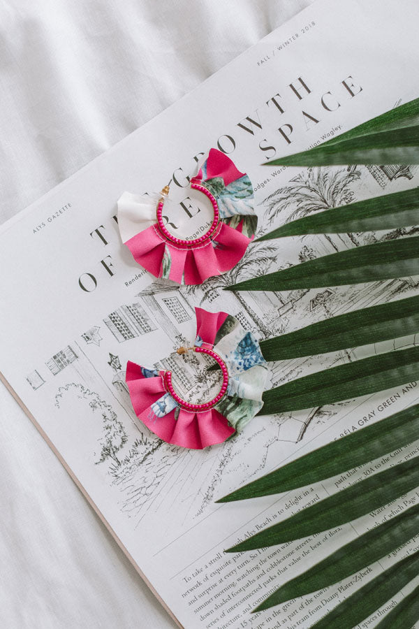 Mojitos in Mexico Earrings in Hot Pink