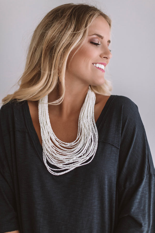 Sweet As Sugar Beaded Necklace in White