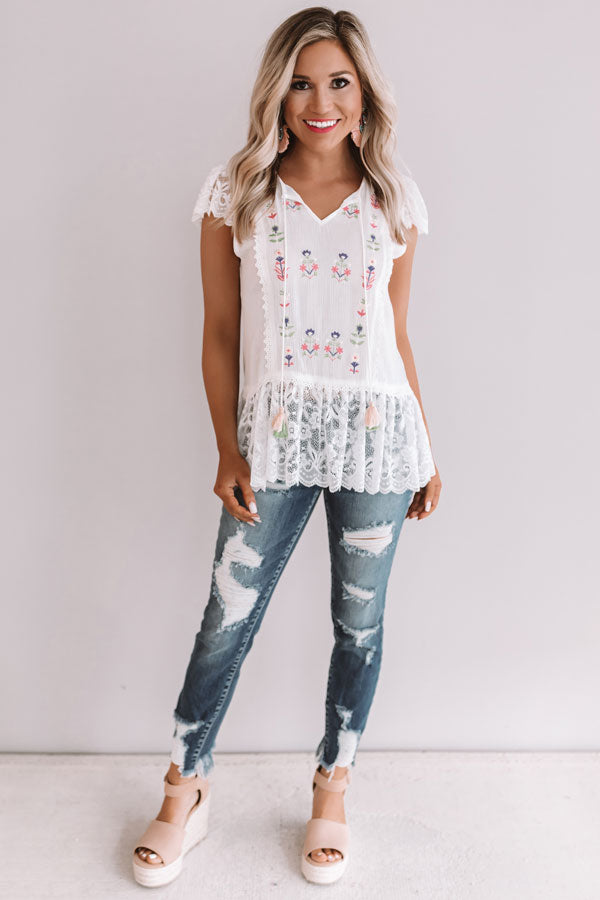 Summer Destination Embroidered Top