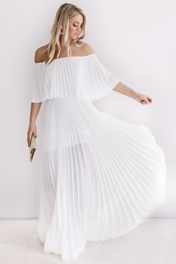 Gala Glam Pleated Maxi Dress in Ivory
