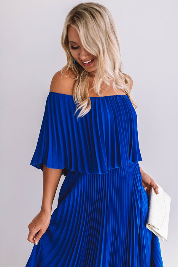 Gala Glam Pleated Maxi Dress in Royal Blue