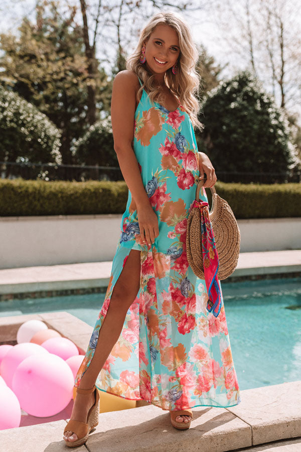 Fall In Love With Malibu Floral Dress in Aqua