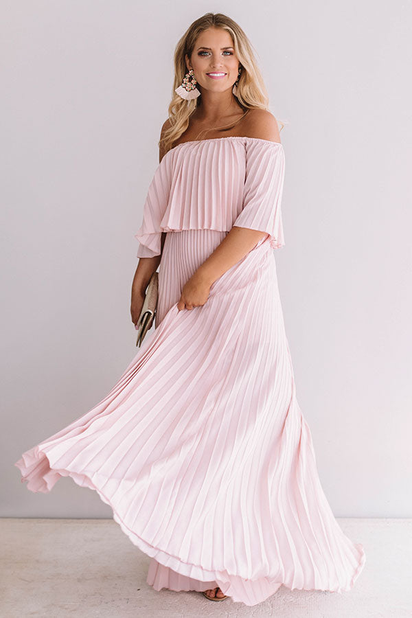 Gala Glam Pleated Maxi Dress in Blush