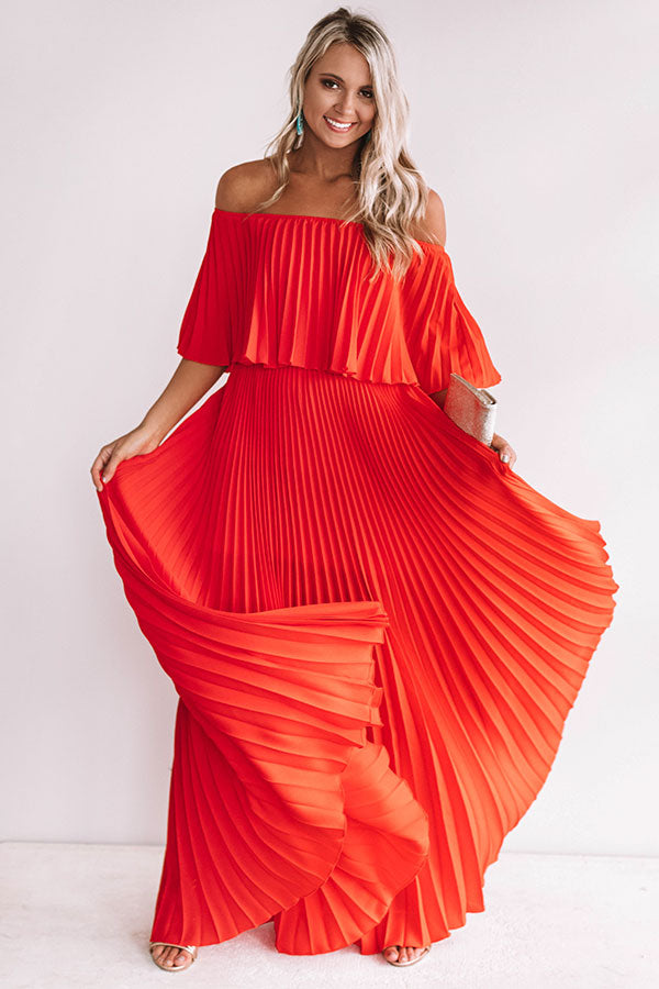 e37908f9d90 Gala Glam Pleated Maxi Dress in Red