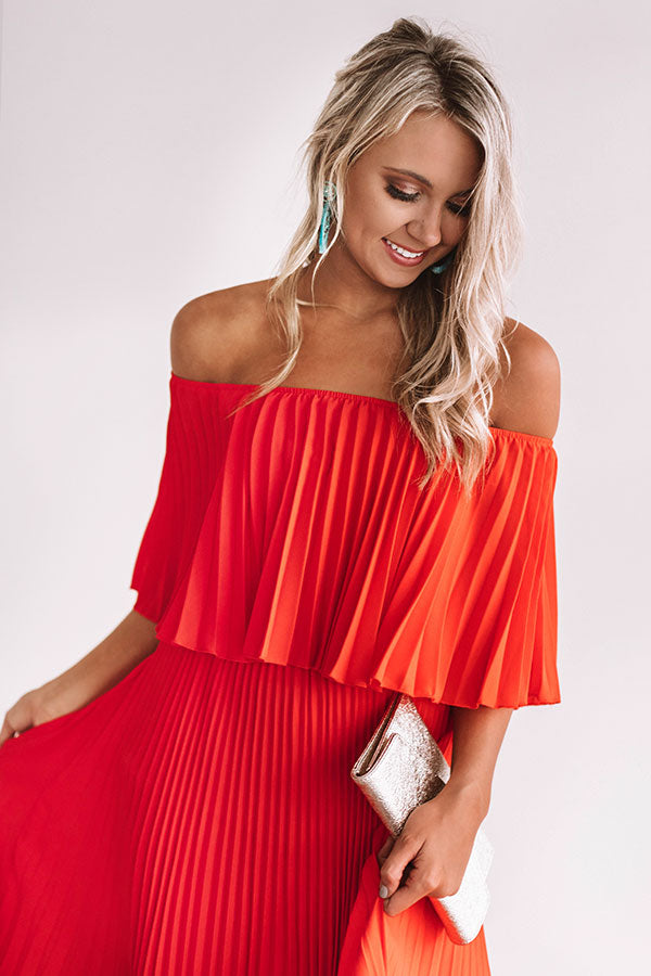 Gala Glam Pleated Maxi Dress in Red