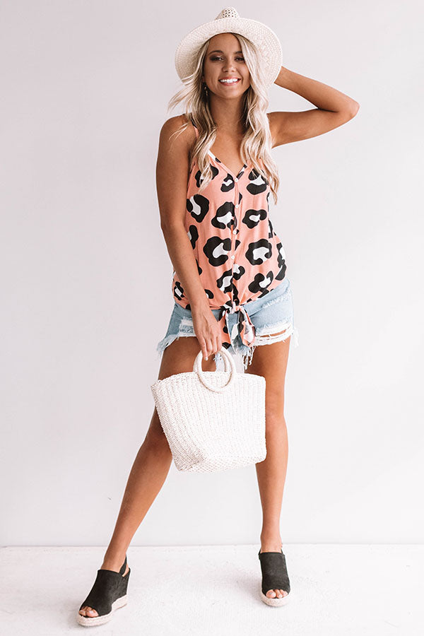 Miami Beaches Leopard Tank in Pink