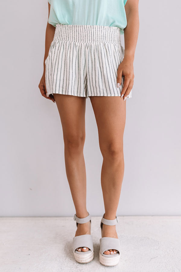 Vacation Under The Sun Stripe Shorts In Ivory