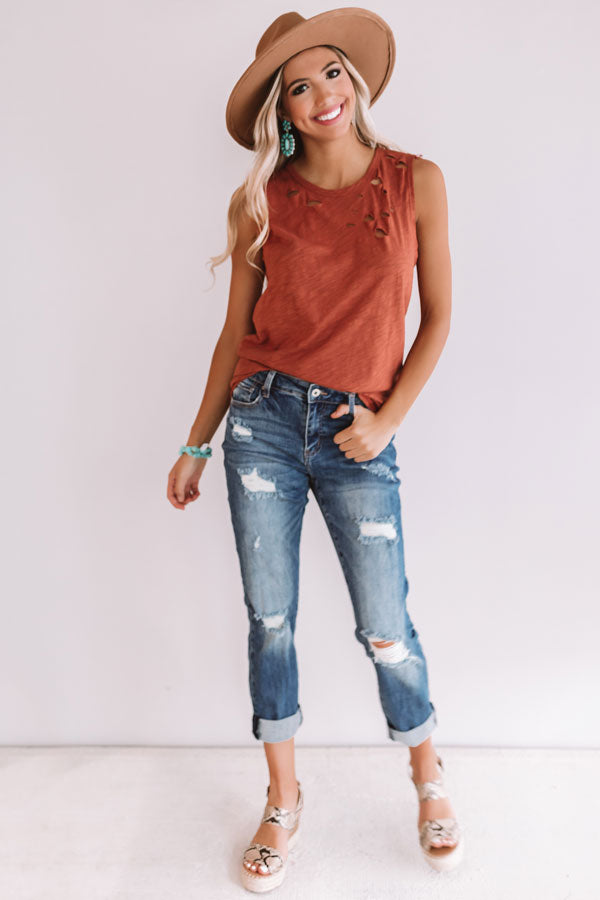 Summer Bliss Distressed Boyfriend Tank in Rust