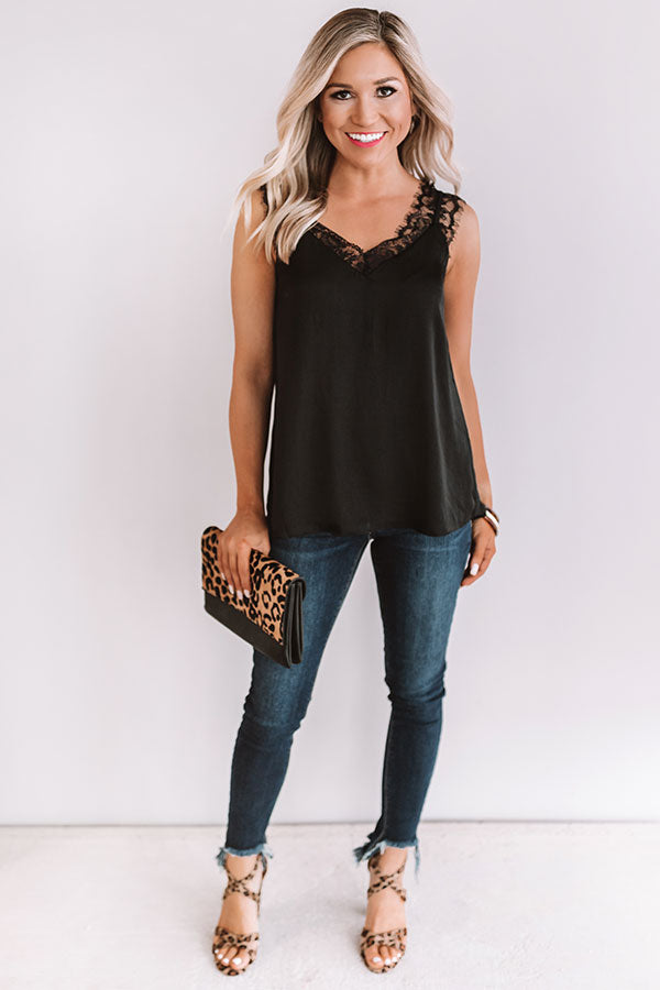 Love Like This Lace Trim Tank in Black