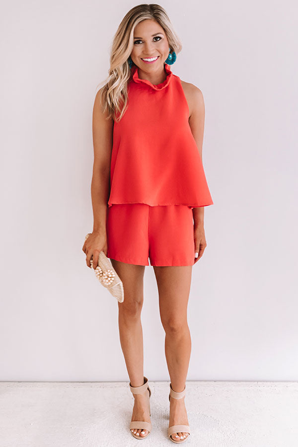 Make It Or Break It Ruffle Romper In Tangerine