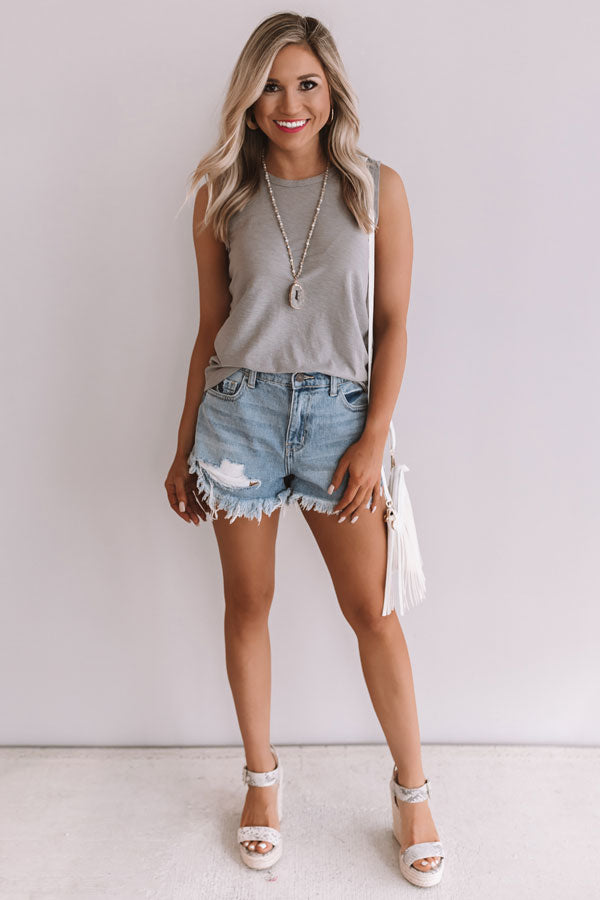 Coast To Coast Boyfriend Tank in Light Taupe