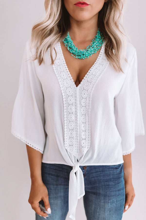 Sangria At Sunset Crochet Top in White