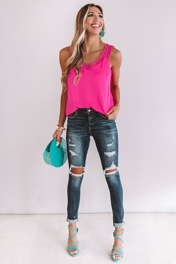 Love Like This Lace Trim Tank in Hot Pink