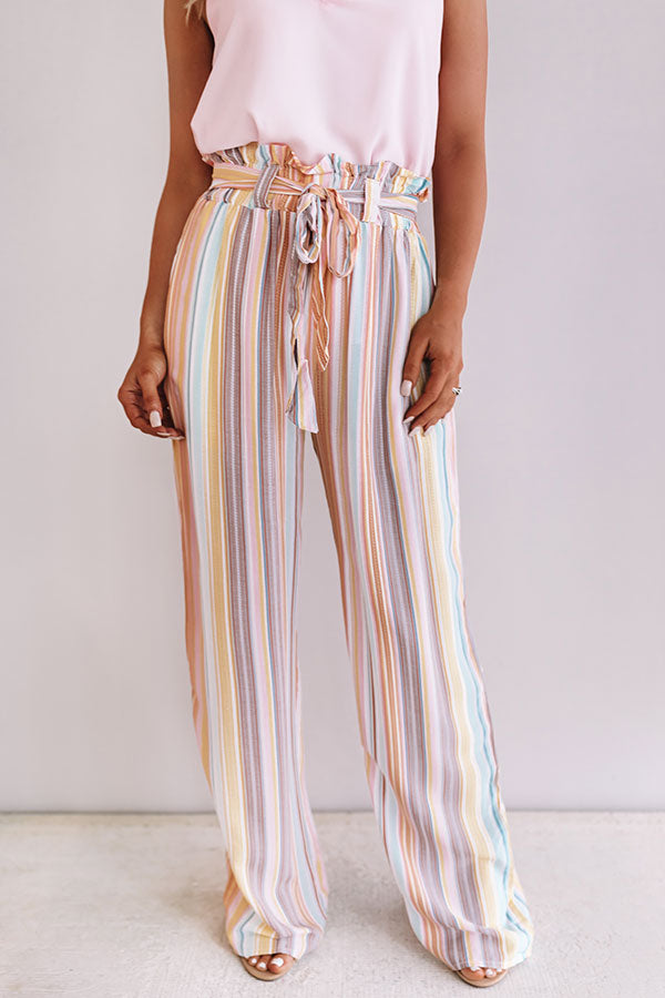 Sweet Skyline Views Stripe Pants in Peach