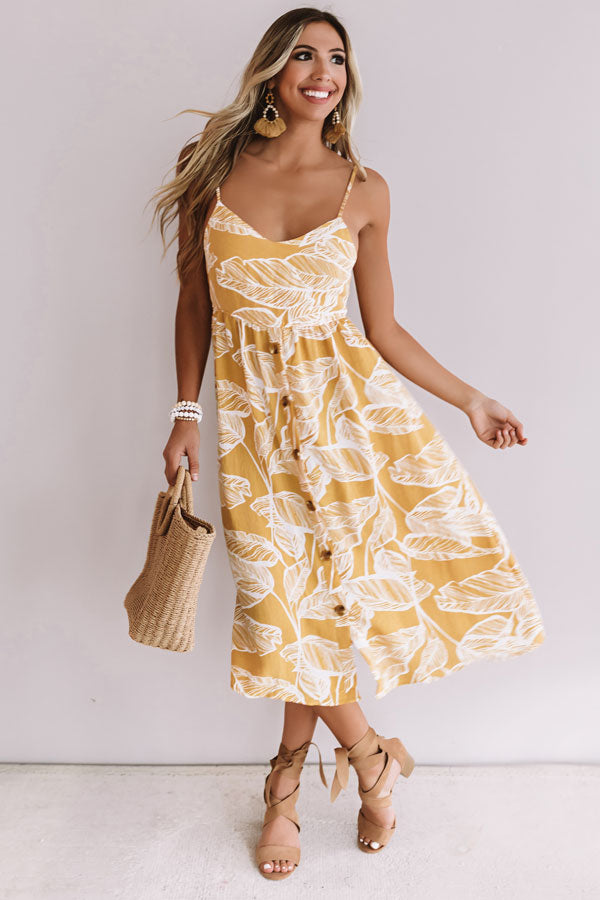Tulum Sunset Button Down Midi in Marigold