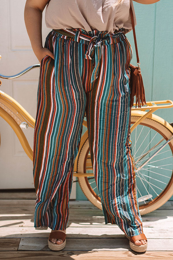 Sweet Skyline Views Stripe Pants in Blue