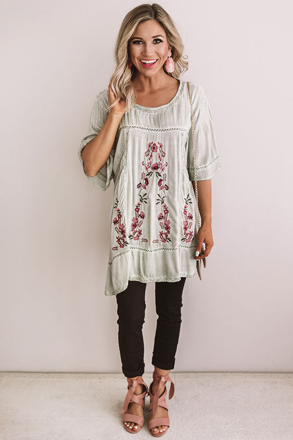 Fun In Floral Embroidered Top in Light Sage