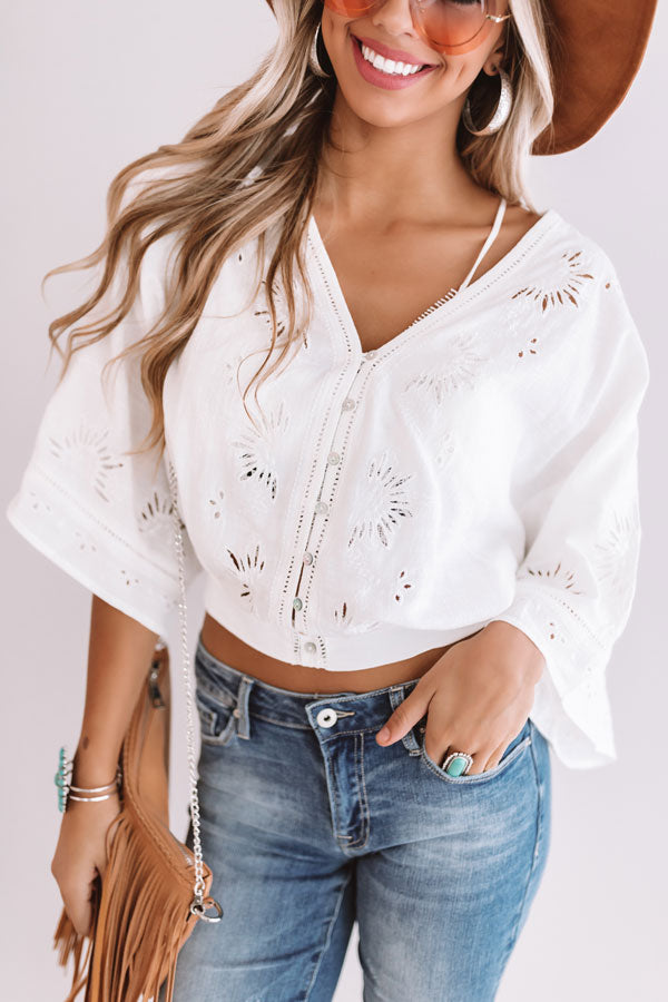 Going Coastal Eyelet Top