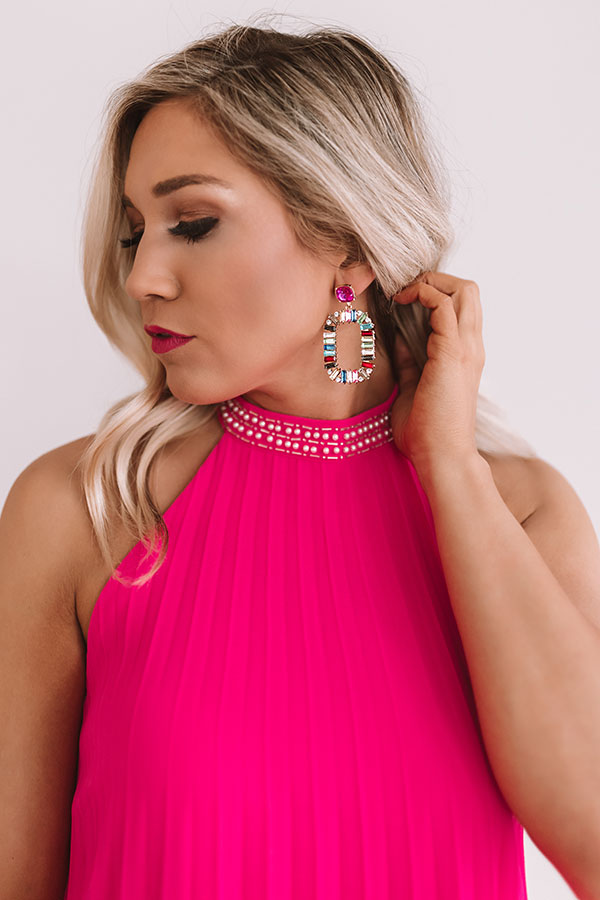 Eyes On You Earrings In Fuchsia