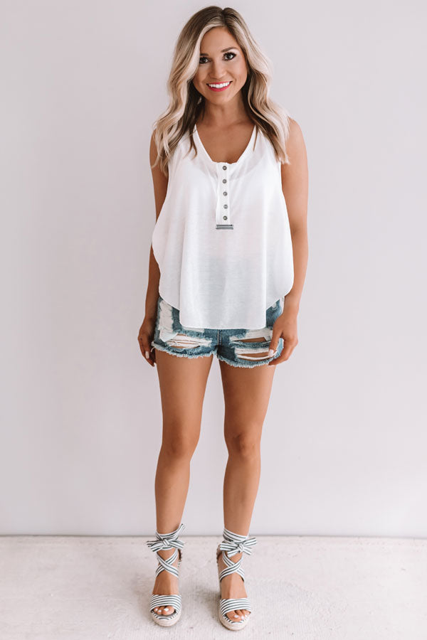 Make Your Own Luck Henley Tank In White