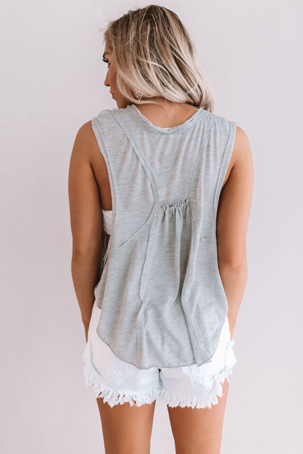 Make Your Own Luck Henley Tank In Grey