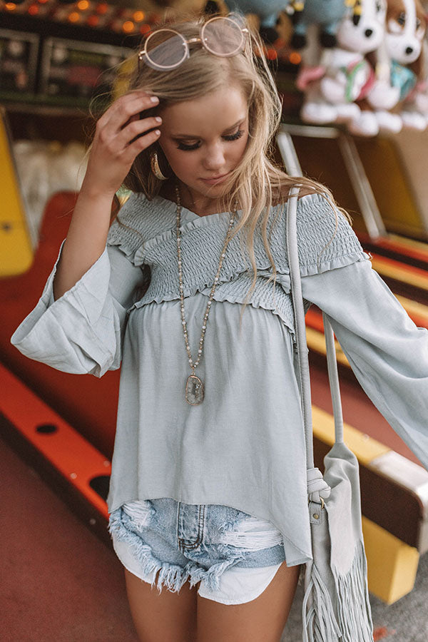 Tickets For Two Smocked Top In Light Airy Blue