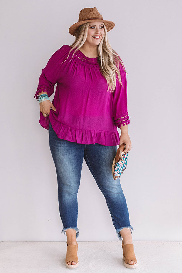 Girls Trip to Greece Shift Top in Berry
