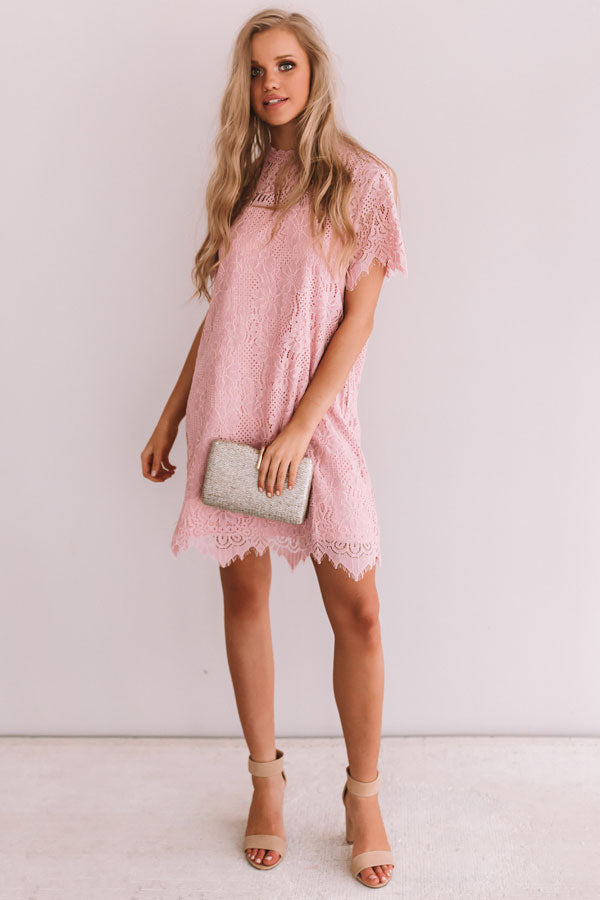 My Cup Of Tea Lace Shift Dress In Pink