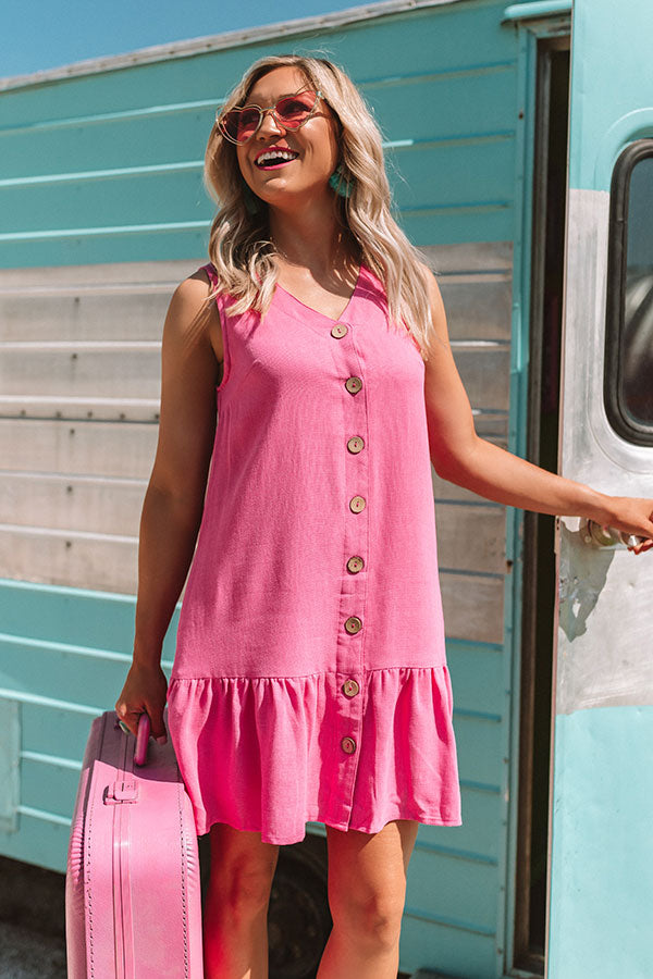 Ready, Jetset, Go Button Down Dress in Pink