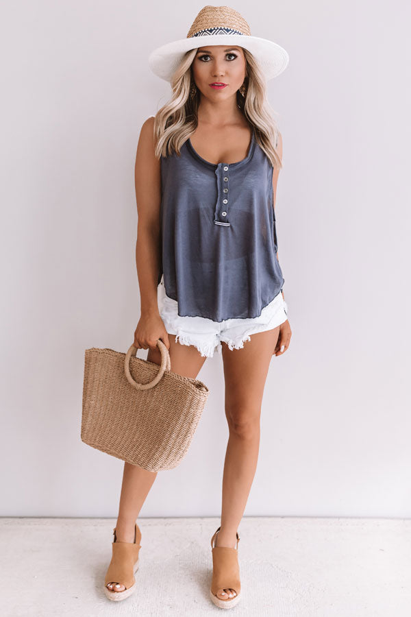 Make Your Own Luck Henley Tank In Navy