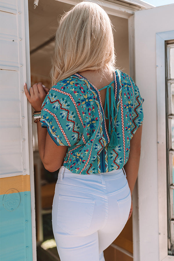 One Day At A Time Top In Turquoise