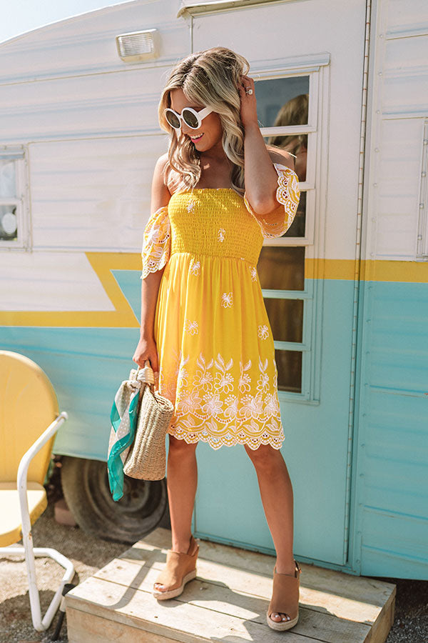 Holiday Under The Sun Embroidered Smocked Dress