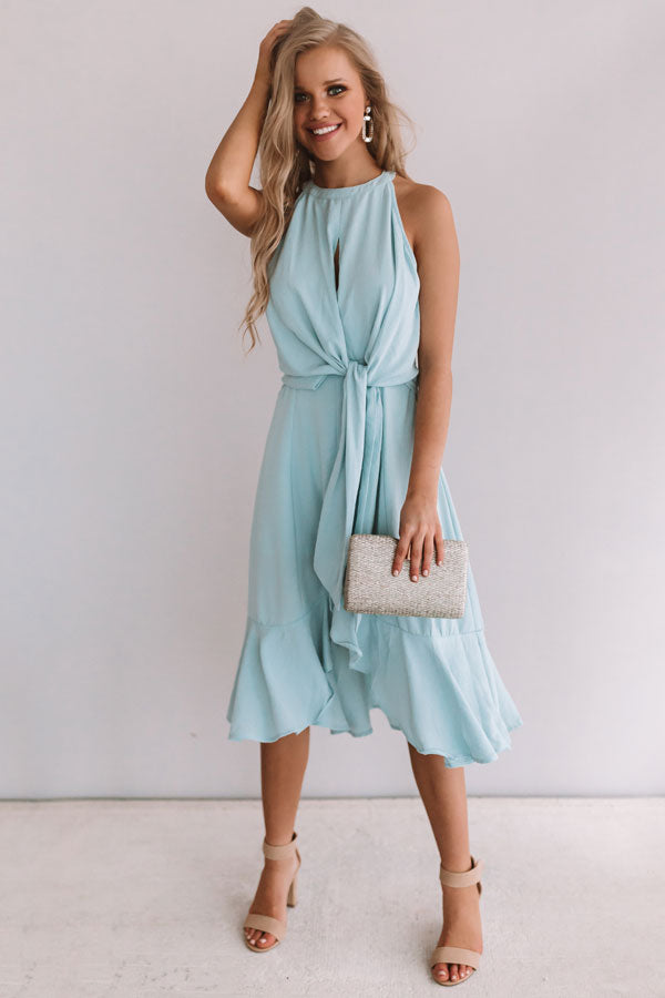Going For Margs Front Tie Dress In Light Limpet Shell