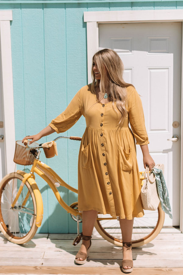 Pinot and Picnics Midi Dress In Mustard