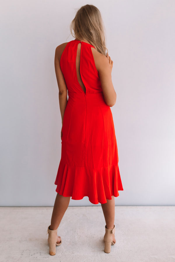 Going For Margs Front Tie Dress In Scarlet