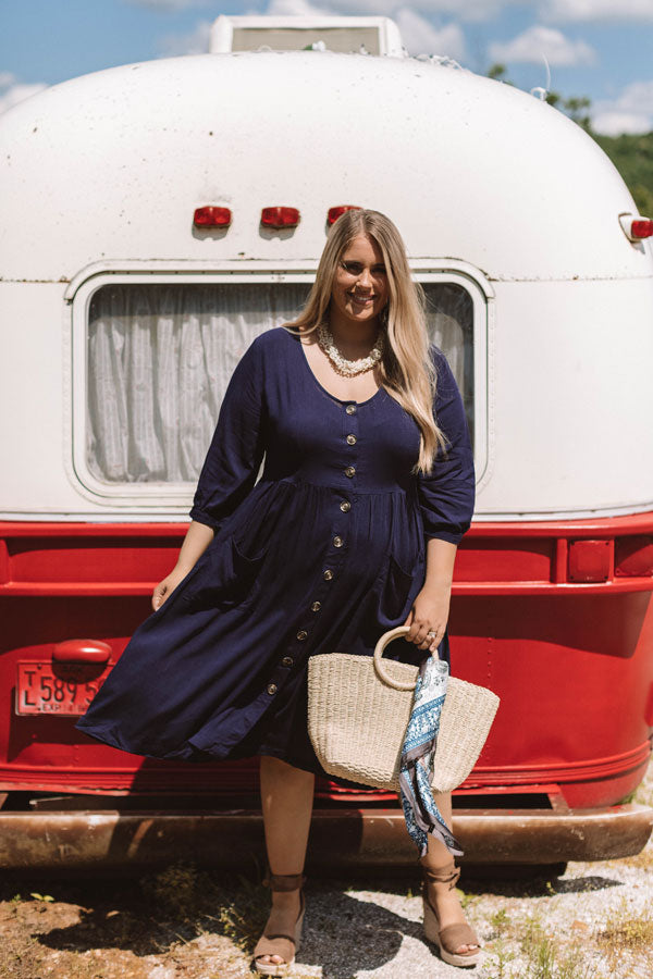 Pinot and Picnics Midi Dress In Navy