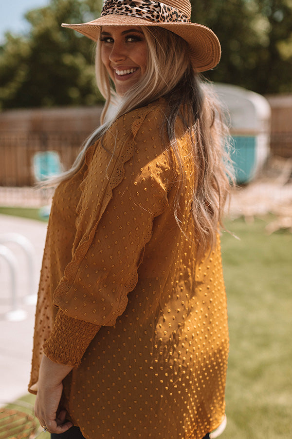 Champagne and Sugar Crochet Trim Shift Top In Mustard