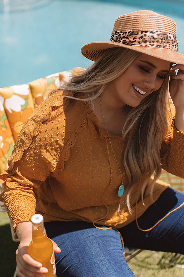 Champagne and Sugar Crochet Trip Shift Top In Mustard