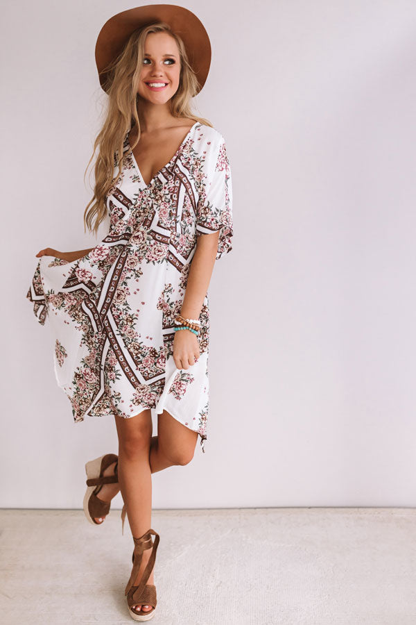 Chasing Wildflowers Midi Dress In Ivory