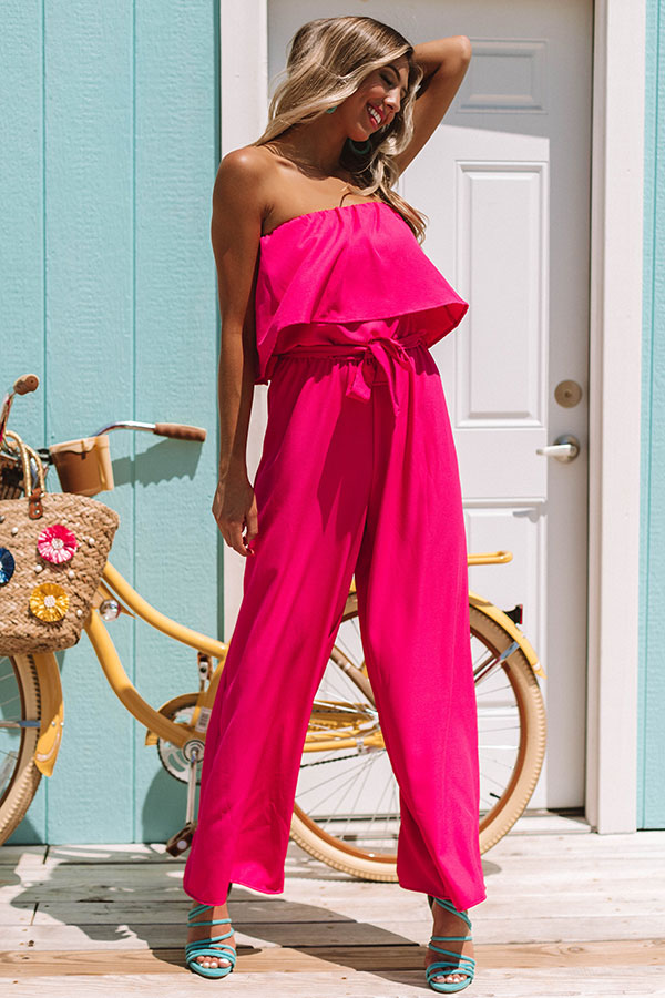 Malibu Bliss Jumpsuit in Raspberry