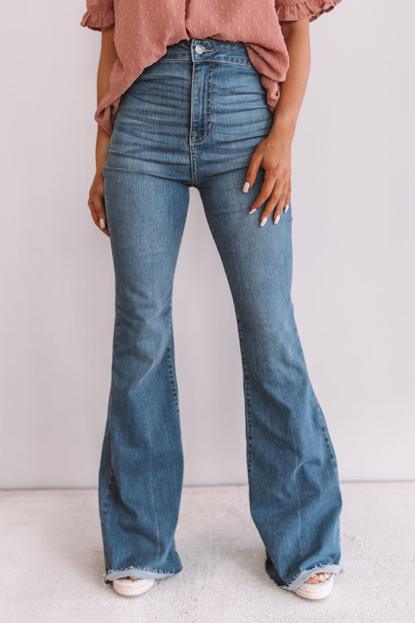 The Everleigh High Waist Flares in Medium Wash