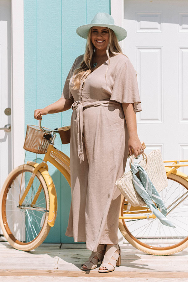 Italian Travels Jumpsuit In Taupe