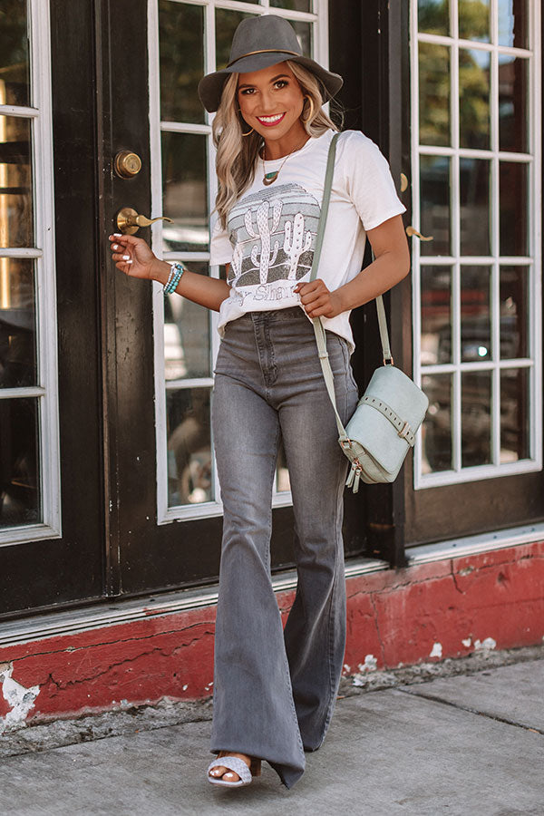 The Everleigh High Waist Flares in Charcoal